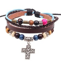 Silver Metal Cross Dangling Charm Pendant on Handmade Leather Bracelet with Bead Details and Rope Cord