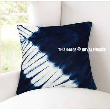 Dark Blue  White Skew Line Indigo Shibori Pillow Case 16X16 Inch on RoyalFurnish.com