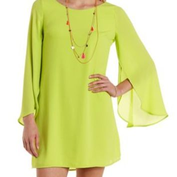 Neon Yellow Tulip Bell Sleeve Shift Dress by Charlotte Russe