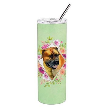 Borboel Mastiff Green Flowers Double Walled Stainless Steel 20 oz Skinny Tumbler CK4281TBL20