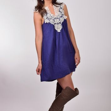 Jodifl Navy Blue Solid Dress with Lace Design around Neck