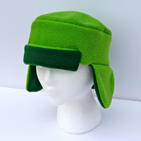 Cosplay South Park Inspired Green Ushanka Character Kyle Style Fleece Hat. Ski, Costume Party, Gift, Cosplay, Gift