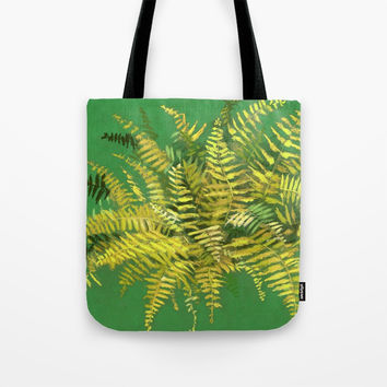 Golden Fern, floral art, green and yellow Tote Bag by Clipso-Callipso