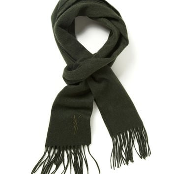 Yves Saint Laurent Men's Wool Embroidered Logo Fringed Scarf - Forest