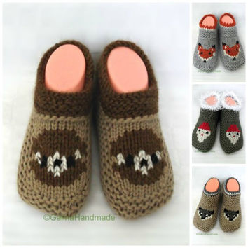 Knit Baby Shoes , Baby Booties,  Knit Baby Slippers , Toddler Shoes, Baby Gift, Animal Child Baby  Slippers Beige   Wool, Booties Teddy-bear