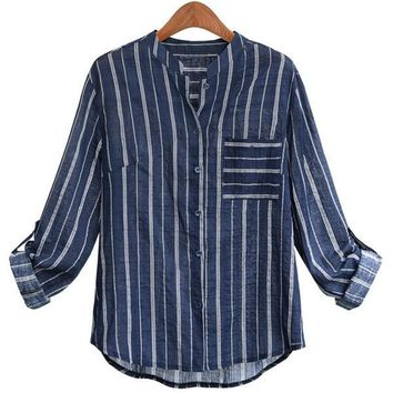 Autumn Female Casual Blouse Stripe Designed Long Sleeve Polo Collar Shirt Plus Size =