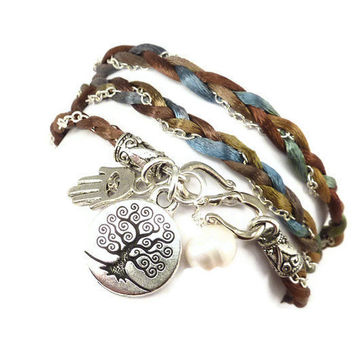 Wrap Bracelet Braided Satin and Chain with Tree of Life, yoga jewelry,wrapped, wrapping,wrist wrap