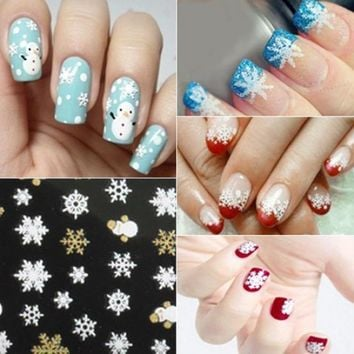 Nail art sticker christmas snowflakes snowman decal girls fingernail accessory 3D nail art stickers