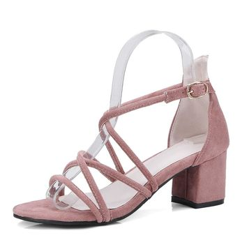 Special-Shop Women Sandals Flock Women Shoes Platform Buckle high Heel Sandals
