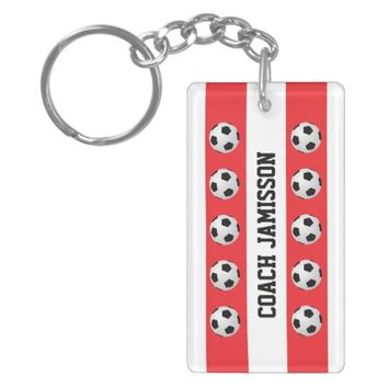 Keychain, Red & White, for Soccer Coach, Player Keychain