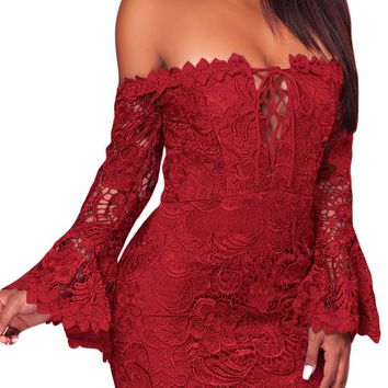 Red Crochet Lace Overlay Off The Shoulder Fitted Mini Dress