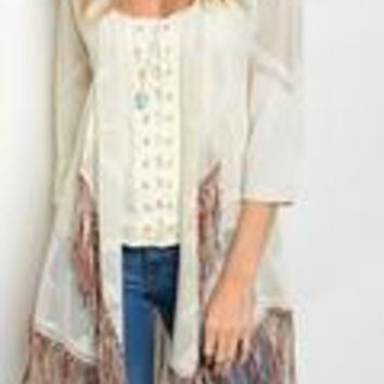 J W Designs Cardigan with crochet draped with fringe trim