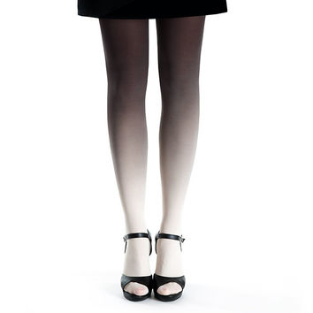 Ombre tights ivory - black