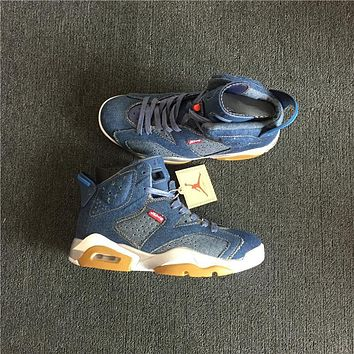 Levis x Air Jordan 6 Blue Denim Sport Shoes