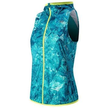 CREYONV new balance windcheater hooded full zip running vest women s size