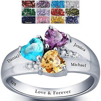 Mothers Ring with Birthstones, Choose 3 Birthstones 3 Names and 1 Engraving Customized and Personalized Size 8