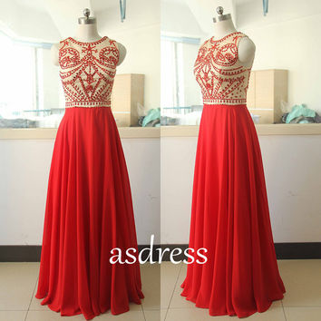 2015 New Red Chiffon Prom Dress Homecoming gown Pageant GOWNS Red Long Wedding Dress Retro Bridal Beading Sequins Dance dress Custom US size