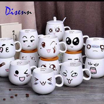 Creative Ceramic Cups Cute Cartoon Face Expression Water Container Lovers  Coffee Mugs Travel Hot Selling
