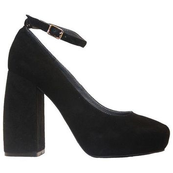 Jeffrey Campbell Phair   Black Suede High Block Heel Pump