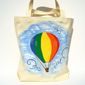 Hand Painted Tote Bag With Colorful Hot Air Balloon