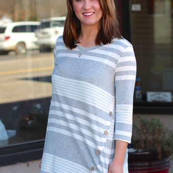 Striped Twirl Tunic {Grey + White}