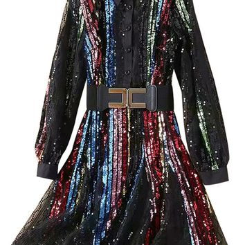 Stranger Things Multicolor Sequin Vertical Stripe Pattern Long Sleeve Button Front Flare A Line Midi Dress