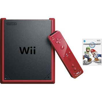 Nintendo - Wii Mini with Mario Kart Wii - Black/Red