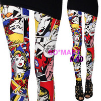 Lycra Women Sexy Leggings Tights Pants - Wonder Woman Comics sz L / XL / XXL