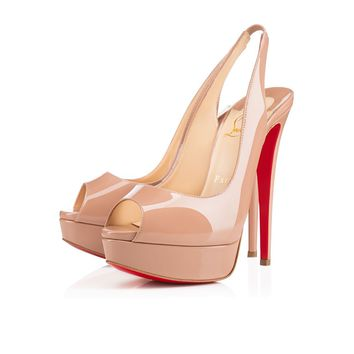 Christian Louboutin Cl Lady Peep Sling Nude 6248 Patent Leather Platforms 1110001pk20 - Best Online Sale