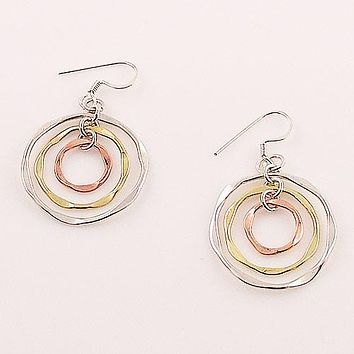 Three Tone Sterling Silver Hoop Earrings