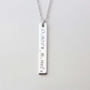 Vertical Coordinate Bar Necklace / Personalized Monogram and Name Long Necklace / Gift for Her
