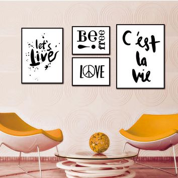BANMU Nordic decorative Modular Paintings Modern Living Room Wall Poster Character Pattern Home Canvas Painting