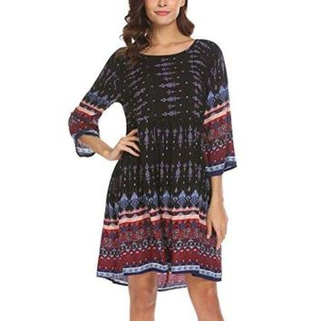 Boho 3/4 Sleeve Print Ethnic Bohemian Casual Beach Tunic Swing Dress
