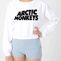 Arctic Monkey Silk Screen American Apparel Women's Cropped Sweatshirt