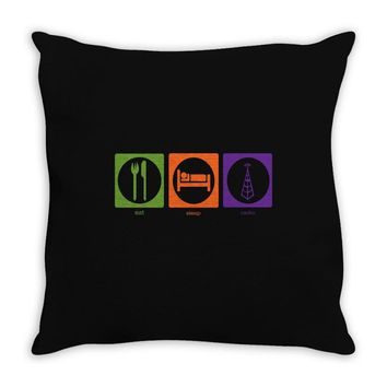 eat sleep radio Throw Pillow