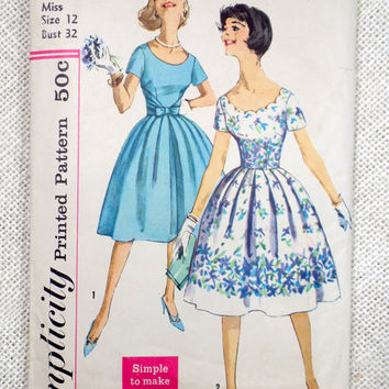 Vintage Pattern Simplicity 34741960s Rockabilly prom dress new look full skirt Bust 32 Formal Short sleeve tie waist scalloped Pinup
