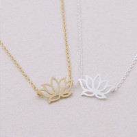 Lotus necklace, dainty lotus, gold flower, silver lotus, gold lotus, everyday necklace, simple and chic necklace, lotus pendant