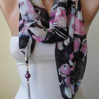 Scarf Necklace - Jewelry Scarf - Pink and Black Chiffon Fabric - with Beads and Chain - Trendy - Fashion