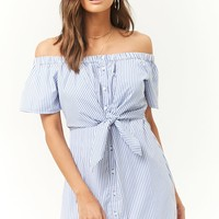 Tie-Front Striped Poplin Dress