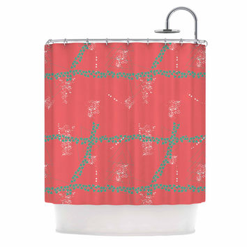 "Love Midge ""Bold Geometric"" Coral Aqua Shower Curtain"