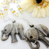 Beaded Curtain Tiebacks, Elephant Holdbacks, Good Luck Elephant Decor