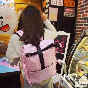 Princess sweet lolita bag original Korean design cute pink or black bow Japanese style young girl large capacity  backpack BAG84