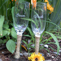 Bride & Groom Rustic Sunflower Wedding Toasting Glasses