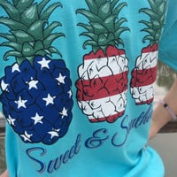 "USA ""Sweet and Southern"" Pineapple Patriotic Tee"