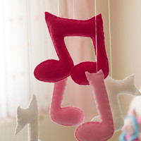 Baby Girl Mobile - Felt Music Notes Mobile -Pink Baby Mobile -Music Notes Crib Mobile -Baby Girl Room Decoration -Felt Baby Girl Mobile