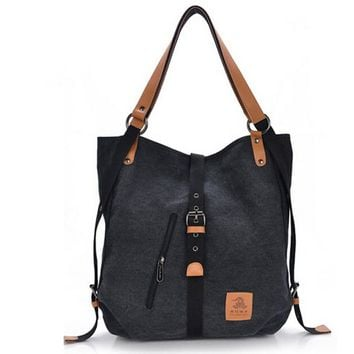 2-in-1 Convertible Canvas Tote Bag