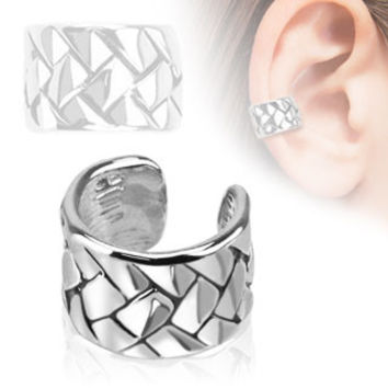 Off the Cuff - Woven pattern rhodium plated ear cuff