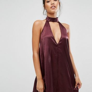 Missguided Silky Tab Neck Swing Dress at asos.com