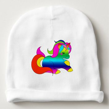 Cute Kawaii Rainbow Unicorn Cartoon Style Baby Beanie