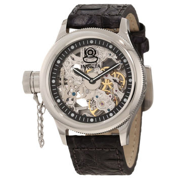 Invicta 10363 Men's Russian Diver Lefty Silver Skeleton Dial Interchangeable Leather Strap Mechanical Watch